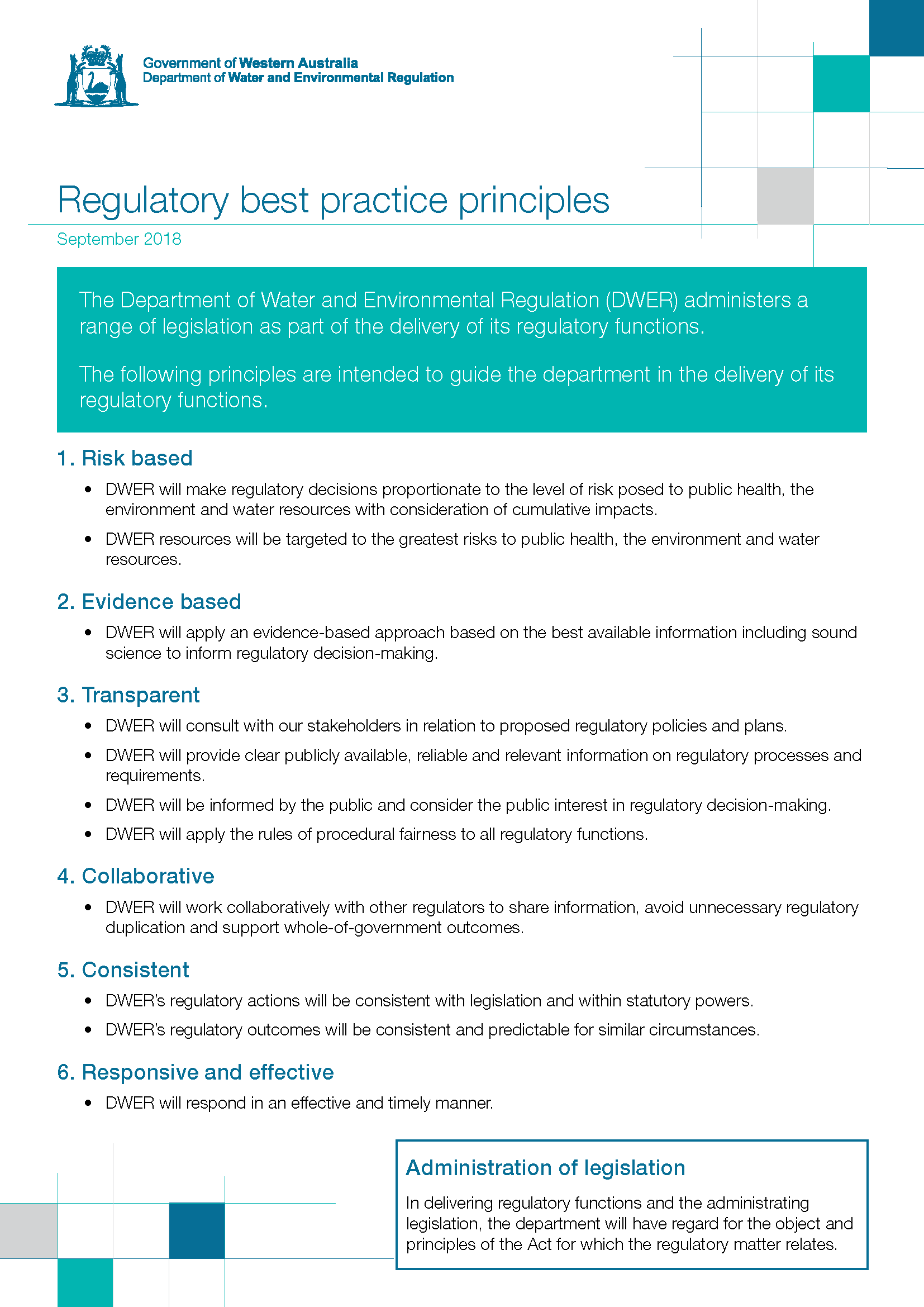 201809 DWER Key Regulatory Principles new