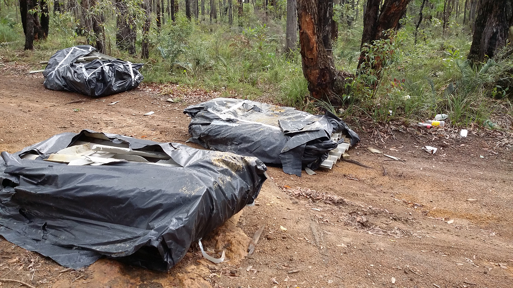 Three packets of fencing containing asbestos was dumped at Korung National Park on 3 June 2015.